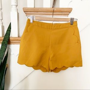 Sketchbook mustard yellow scalloped shorts sz S